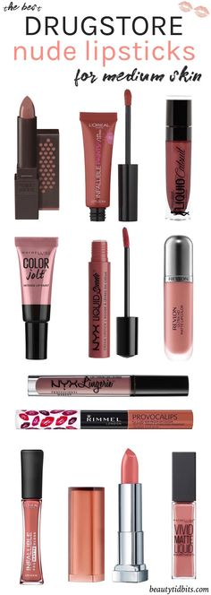 Looking for the best drugstore nude lipstick for your fair-medium olive skin ton. - - Looking for the best drugstore nude lipstick for your fair-medium olive skin tone? Check out this handy guide to find your perfect neutral lip colors,. Colors For Dark Skin, Natural Lip Colors, Hair Color For Tan Skin, Party Make-up, Gloss Matte, Lip Gloss, Best Lipsticks, Best Drugstore Matte Lipstick, Best Drugstore Primer