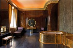 """In the Quai d'Orsay (the French Ministry of Foreign Affairs) the so-called """"King"""" bathroom was restored in 1938 for the visit of George VI… George Vi, Versace Hotel, Empire Furniture, Antique Furniture, Marble Staircase, Kingdom Of The Netherlands, Art Deco Bathroom, Paris Home, Kingdom Of Great Britain"""
