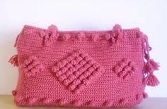 Rose color Crocheted Handbag afghan crochet bag by modelknitting, $79.00