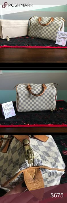 Authentic Louis Vuitton Speedy 30 Damier Azur 100% AUTHENTIC Louis Vuitton Damier Azur Speedy 30   ❤️Canvas has a small mark   ❤️Inside has some light stains ❤️Corners have minor signs of wear  ❤️Medium patina, patina is uneven on the sides please see photos  ❤️No bad odors, smoke free home   ❤️Date code SD3087 ❤️No dust bag ❤️ some tarnish on hardware ❤️Lock NO key & organizer included!  ❤️Please review ALL photos, will only sell through poshmark no other offers accepted Louis Vuitton Bags…