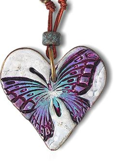 Lorraine Vogel makes your heart flutter on PolymerClayDaily - Schmuck herstellen Polymer Clay Kunst, Polymer Clay Projects, Polymer Clay Creations, Handmade Polymer Clay, Polymer Clay Necklace, Polymer Clay Pendant, Metal Clay Jewelry, Ceramic Jewelry, Precious Metal Clay