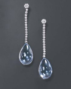 A PAIR OF AQUAMARINE AND DIAMOND EAR PENDANTS, BY MICHELE DELLA VALLE  Each aquamarine drop within a circular-cut diamond frame, suspended by a line of circular-cut diamonds, from a larger circular-cut diamond surmount, mounted in 18k white gold With the monogram MvD for Michele della Valle