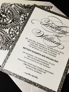 Calligraphy Wedding Invitation, Silver Foil Doily Envelope Liner, Elegant Wedding Invitation, Glam Wedding Invitations, Glitter Wedding by SoireeCustomPaperCo on Etsy https://www.etsy.com/listing/387497868/calligraphy-wedding-invitation-silver