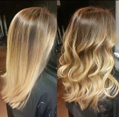 Love my new blonde balayage/ombre. Beautiful straight or curly. Medium length balayage ombre blonde curly straight