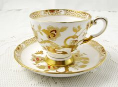 Vintage Tuscan Tea Cup and Saucer, Red and Gold, Fine English Bone China, Gold Trim and Flowers