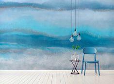 Blue Lagoon Contemporary Blue Sea Wallpaper Mural by Melissa Renee fieryfordeepblue Art & Design seen at Creator's Studio, Helsinki | Wescover Accent Wallpaper, More Wallpaper, Creator Studio, Resin Artwork, Perfect Wallpaper, Wall Installation, Cool Tones, Blue Lagoon, Designer Wallpaper