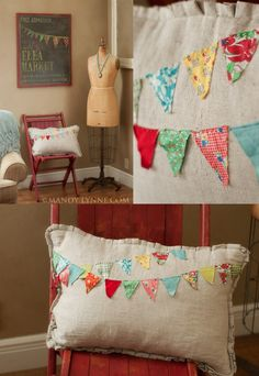 diy pennant banner pillow made from vintage fabric. Cute! @Jessica Turner...these would be sooo cute with your crocheted flower bunting on them  :)