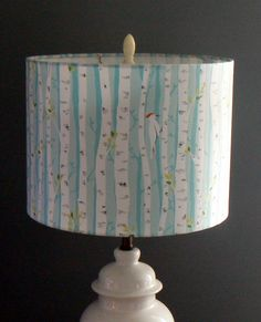 Birch Trees Drum Lamp Shade Woodpeckers in Birch by LiteandShadow