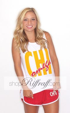 Riffraff Copyright exclusive tee. Show your greek love in these comfy and cute greek 90′s inspired letter tanks!! Model is wearing a size small. Made of 100% cotton.  #greeklove #greekapparel #greekgifts #sorority #sororityapparel #sororitygifts #kappakappagamma #kkg #kapp #chiomega #chio #pibetaphi #piphi #zetataualpha #zeta #deltadeltadelta #tridelt #tridelta #phimu #alphadeltapi #adpi #alphaomicronpi #aopi #kappadelta #kd #alphachiomega #achio