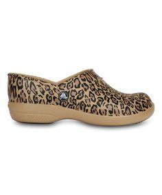 f8effdab6 Another great find on  zulily! Gold Leopard Neria Clog - Women  zulilyfinds  Crocs