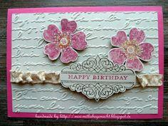 """Geburtstagskarte - Birthday Card Prägefolder """"Schönschrift"""" & Stempelset """"Sommermorgen"""""""