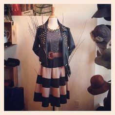 Parisian chic meets punk! We can't get enough of this striped skirt ($68) and studded leather jacket ($72)