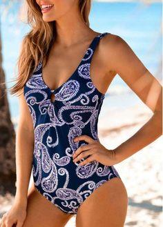 8bd94a8435d88 Paisley Print Navy Blue One Piece Swimwear