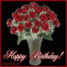 Beautiful Glitter Graphic Woman | Glitter Graphic Comment: Happy Birthday Red Roses