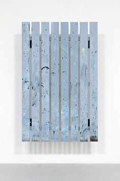 "Fredrik Værslev  Untitled [Frieze Garden Painting #02]  2011  House paint, enamel paint, spray paint and nails on pressure impregnated spruce  /siberian larch frame mounted on steel  140 x 89 x 29 cm / 55 x 35 x 11""  Unique / SOFV/P 2011-057. Courtesy of STANDARD (OSLO)"