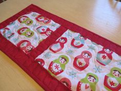 Red And White Christmas Table Runner  Matryoshka by bungalowquilts