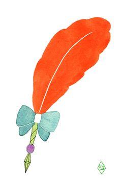 オレンジの羽根ペン