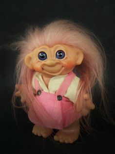 Vintage Toy, 1966 Dam Troll Bank, 7 Inch Troll Bank with Pink hair, Pink Dress Blue Eyes, 100% Original Unaltered Condition