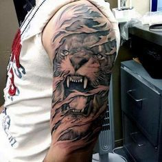 Men's Tiger Half Sleeve Tattoos