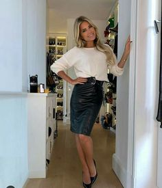 - Dutch Celebs - Sylvie Meis in and Sexy Dresses, Casual Dresses For Women, Clothes For Women, Sylvie Meis Style, Business Outfits Women, Vinyl Dress, Leather Fashion, Women's Fashion, Office Fashion