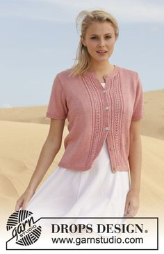 "Strikket DROPS jakke i ""Cotton Viscose"". Str S - XXXL. ~ DROPS Design"