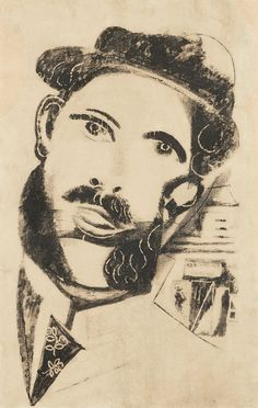 Marc Chagall (Russian-French, 1887-1985), Der Mann mit Backenbart [The man with whiskers], 1922-23. Lithograph, published by Paul Cassirer, ...