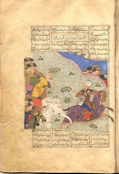 f. 180a. Rustam seizes the Khaqan of Chin by pulling him with a lasso from his elephant. Rustam is on horseback, the Khaqan sits in a hawdag on a white elephant, the lasso strung around his neck. Horsemen aim their bows and arrows at Rustam. Several warriors look on from a distance. Shahnama Firdawsī, Manṣūr b. Ḥasan (c. 934-c. 1020)  840/1437 Or. 494, Leiden University Library