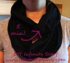 5 minute DIY infinity scarf..never would have thought of this!