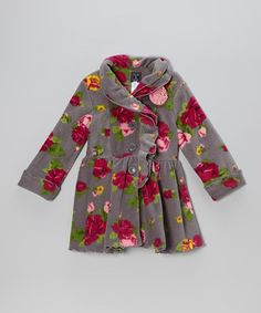 Take a look at this Gray Rose Ruffle-Collar Coat - Infant, Toddler & Girls by Mack & Co on #zulily today!