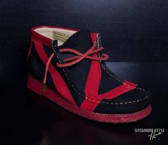 "Black & Red ""Thriller"" Sycamore Style Custom Clark's Wallabees"