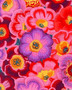 Kaffe Fassett Collective Spring 2014 - Gloxinias - Scarlet Red