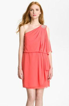 Not a big fan of one shoulder, but this one is cute!!    JS Boutique One Shoulder Pleated Chiffon Dress   Nordstrom- on sale for 75.90!