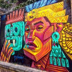 Meeting of Styles in Mexico City: Graffiti & Street Art by Apitatan… Graffiti Images, Best Graffiti, Graffiti Murals, Graffiti Cartoons, Graffiti Wallpaper, Graffiti Painting, Murals Street Art, Street Art Graffiti, Mural Art