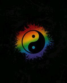 Rainbow Yin and Yang Square Sticker - Art World Cute Wallpapers, Wallpaper Backgrounds, Iphone Wallpaper, Rainbow Art, Rainbow Colors, Rainbow Pride, Rainbow Unicorn, Yin Yang Art, Gay Aesthetic