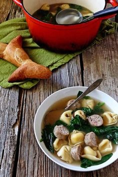 Tortellini Soup with Sausage and Spinach