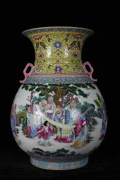 A Large Chinese Qing Dynasty Qianlong Period Famille Rose Nine Old Scholars Porcelain Vase with a Mark of Qianlong, Size: H*D Porcelain Vase, Fine Porcelain, Chinese Figurines, Asian Vases, Chinese Ceramics, Antique Lamps, Qing Dynasty, Chinese Antiques, Vases Decor