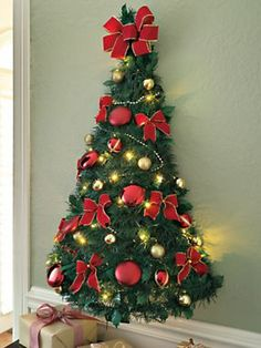 Pre Decorated Wall Tree Half Christmas Solutions