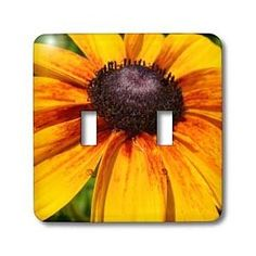 Yellow and Red Flower Macro - Light Switch Covers - double toggle switch