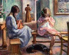 two girls sewing by Henri Lebasque dos muchachas que cosen por Henri Lebasque