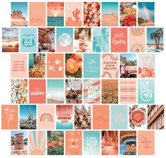 50 PRINTED 4x6 Peach and Teal Aesthetic Wall Collage Kit 4x6, VSCO Orange Photo Collage, Boho Wall Art Set