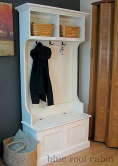 Free easy plans to build an entryway storage bench featuring lift top compartment. Step by step plans include shopping list, cut list, diagrams, and instructions. Add the narrow hall tree hutch on top to create a full entryway storage solution. Diy Furniture Plans, Furniture Projects, Furniture Stores, Ana White, Diy Entryway Storage Bench, Entry Bench, Diy Storage, Hall Tree Storage Bench, Entryway Cabinet