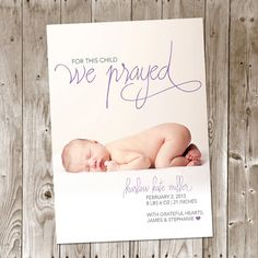 For This Child We Prayed DIY Printable Birth Announcement - Christian - Baby Boy - Baby Girl on Etsy, $12.00