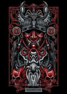 Escorpião/Scorpion Dark Fantasy Art, Dark Art, Art And Illustration, Samourai Tattoo, Filipino Tattoos, Arte Obscura, Samurai Art, Tatoo Art, Zodiac Art