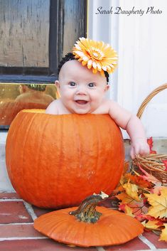 If I can find a pumpkin big enough for my 10 month old I am all about this!  And I love the headband!