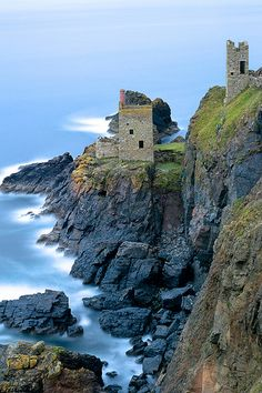 Standing Strong -  two Crown tin mines still standing at Botalick north Cornwall, United Kingdom