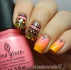 Pink and orange gradient with tribal design. Pretty!