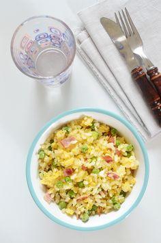Gabriella konyhája: Tojásos sült rizs - sonkával és zöldborsóval
