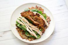 Tacos di rosti con insalata di pollo