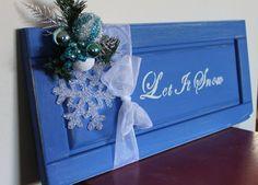 let is snow repurposed cabinet door sign by sunneelynndesigns, $20.00