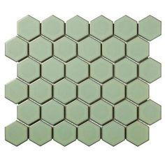 Hexagon Tile Bathroom, Hexagon Mosaic Tile, Mosaic Wall, Wall Tiles, Green Bathroom Tiles, Green Mosaic Tiles, Mosaic Tile Sheets, Design Rustique, Online Tile Store